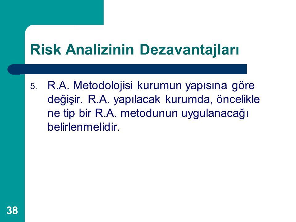 38 Risk Analizinin Dezavantajları 5. R.A. Metodolojisi kurumun yapısına göre değişir. R.A. yapılacak kurumda, öncelikle ne tip bir R.A. metodunun uygu
