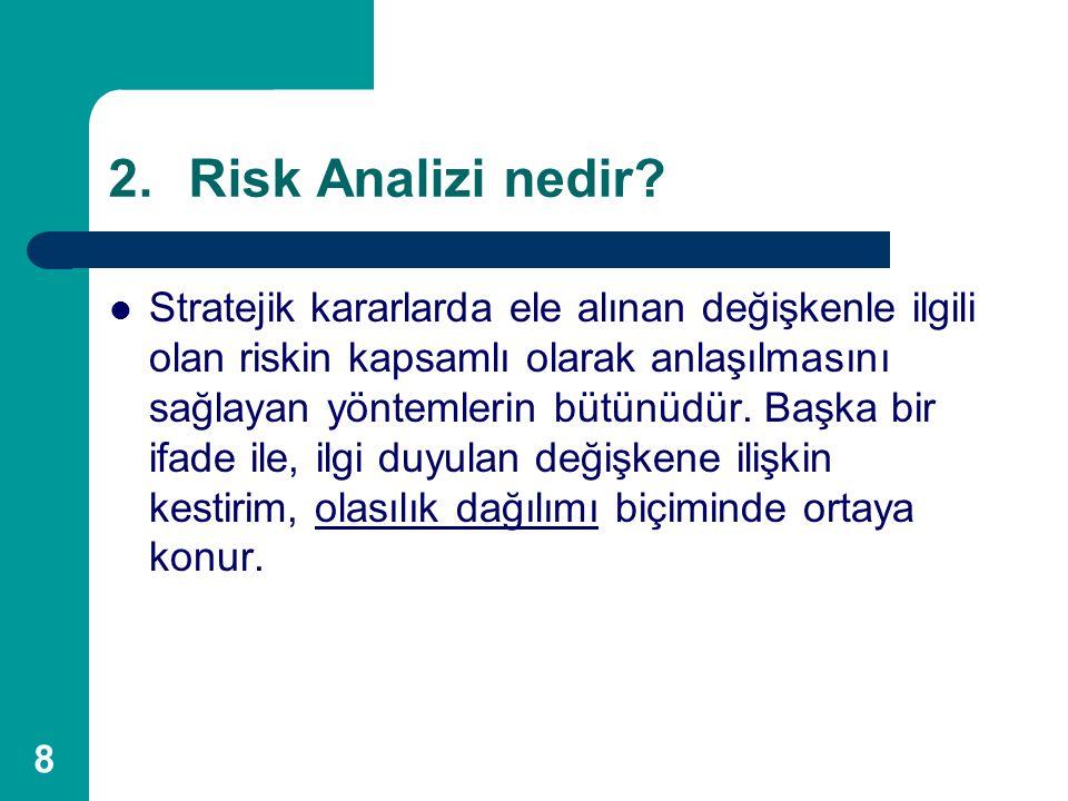 8 2.Risk Analizi nedir? Stratejik kararlarda ele alınan değişkenle ilgili olan riskin kapsamlı olarak anlaşılmasını sağlayan yöntemlerin bütünüdür. Ba