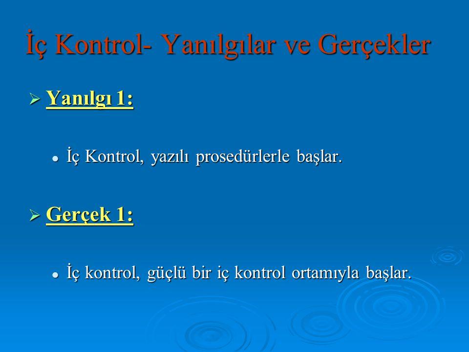 İç Kontrol- Yanılgılar ve Gerçekler  Yanılgı 1: İç Kontrol, yazılı prosedürlerle başlar. İç Kontrol, yazılı prosedürlerle başlar.  Gerçek 1: İç kont
