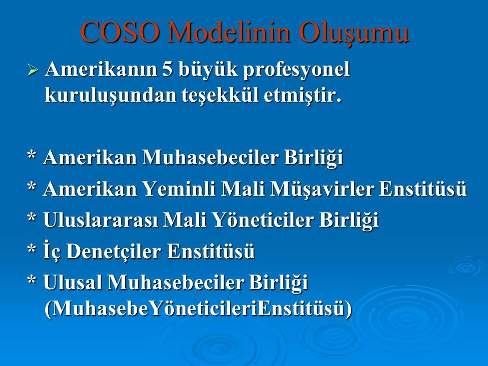 COSO Modelinin Oluşumu  Amerikanın 5 büyük profesyonel kuruluşundan teşekkül etmiştir. * Amerikan Muhasebeciler Birliği * Amerikan Yeminli Mali Müşav