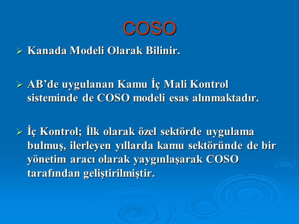 COSO  Kanada Modeli Olarak Bilinir.  AB'de uygulanan Kamu İç Mali Kontrol sisteminde de COSO modeli esas alınmaktadır.  İç Kontrol; İlk olarak özel