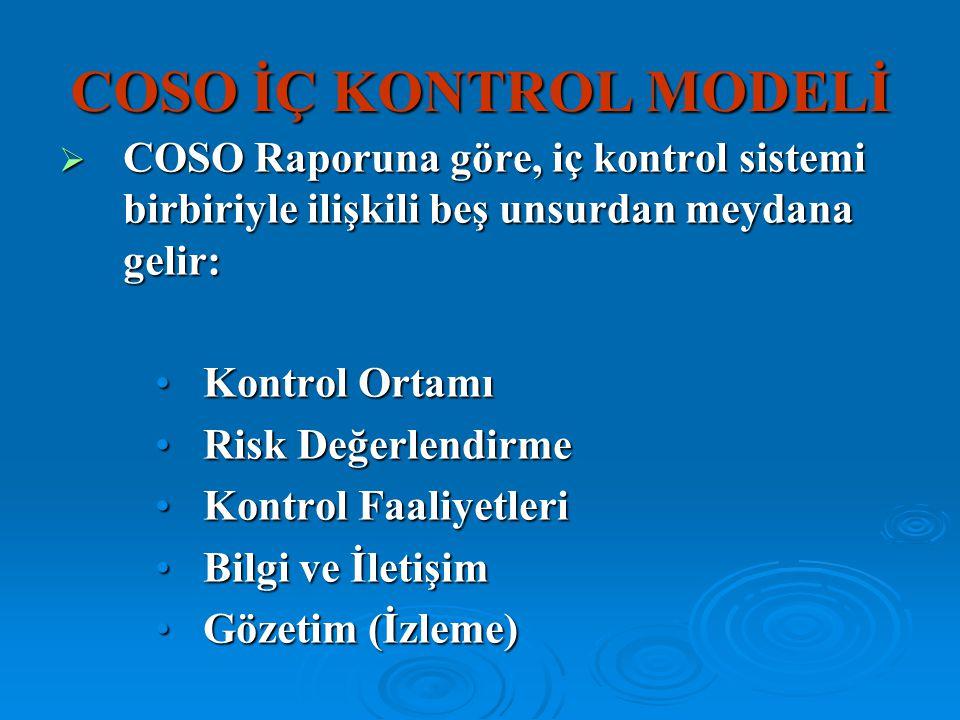 COSO İÇ KONTROL MODELİ  COSO Raporuna göre, iç kontrol sistemi birbiriyle ilişkili beş unsurdan meydana gelir: Kontrol OrtamıKontrol Ortamı Risk Değe