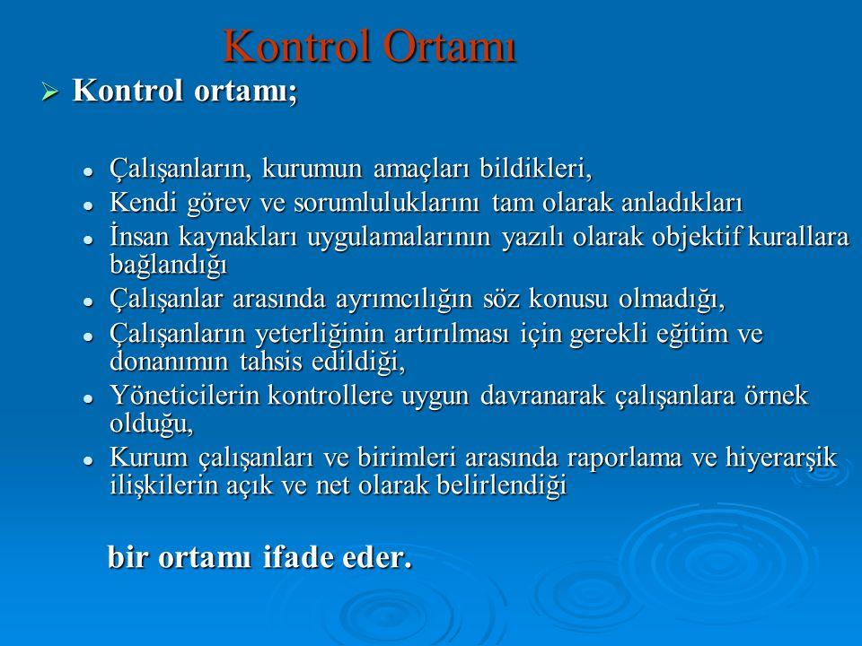 Kontrol Ortamı  Kontrol ortamı; Çalışanların, kurumun amaçları bildikleri, Çalışanların, kurumun amaçları bildikleri, Kendi görev ve sorumluluklarını
