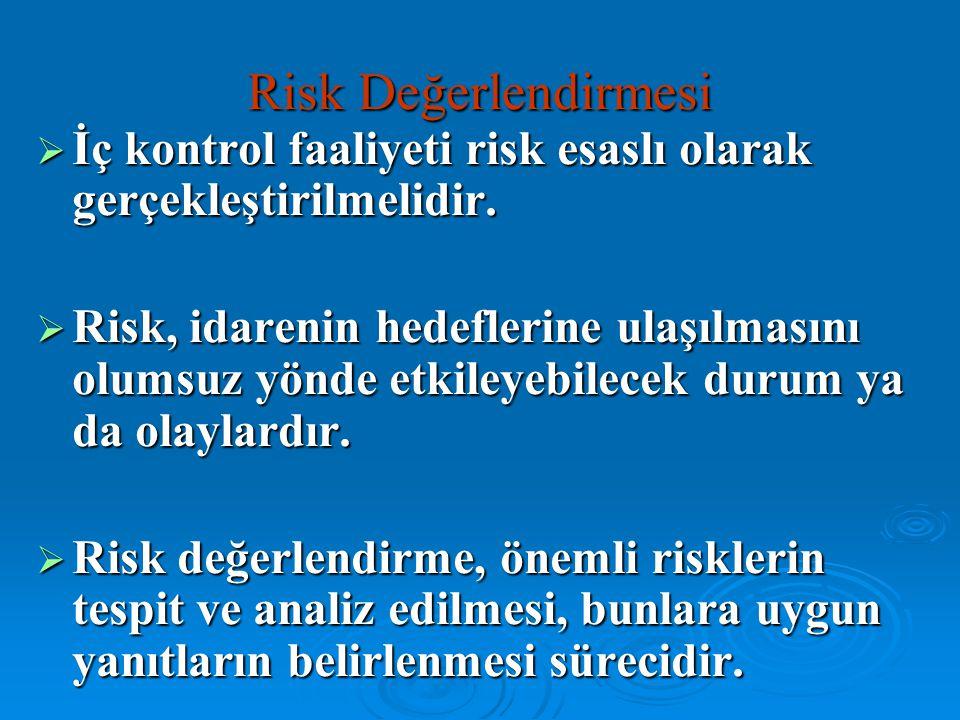 Risk Değerlendirmesi  İç kontrol faaliyeti risk esaslı olarak gerçekleştirilmelidir.  Risk, idarenin hedeflerine ulaşılmasını olumsuz yönde etkileye