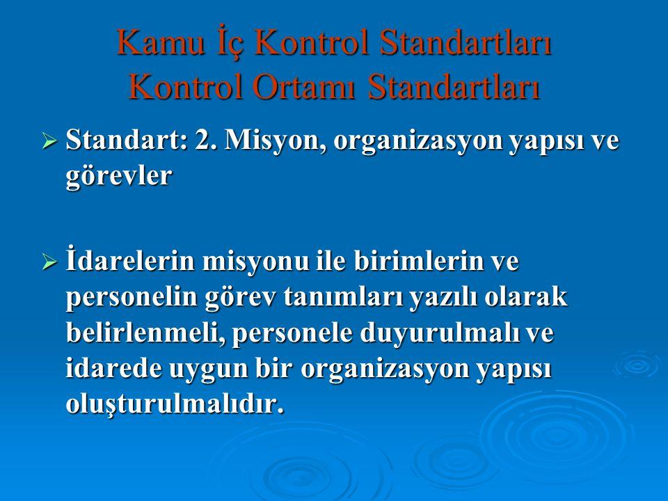  Standart: 2. Misyon, organizasyon yapısı ve görevler  İdarelerin misyonu ile birimlerin ve personelin görev tanımları yazılı olarak belirlenmeli, p