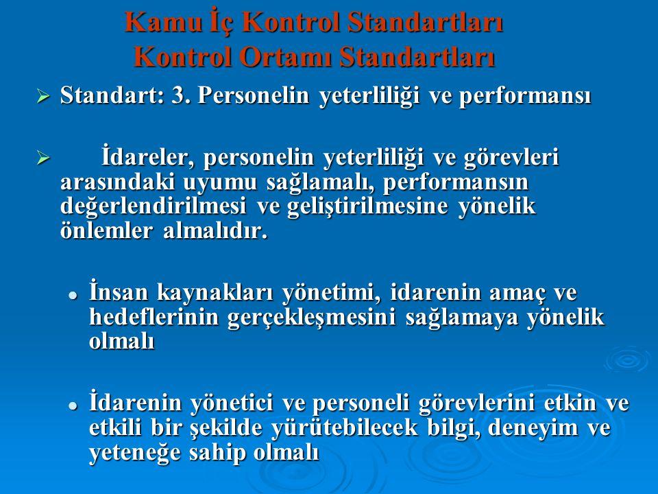  Standart: 3. Personelin yeterliliği ve performansı  İdareler, personelin yeterliliği ve görevleri arasındaki uyumu sağlamalı, performansın değerlen