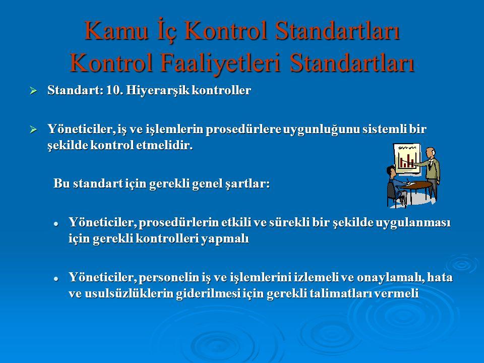  Standart: 10. Hiyerarşik kontroller  Yöneticiler, iş ve işlemlerin prosedürlere uygunluğunu sistemli bir şekilde kontrol etmelidir. Bu standart içi
