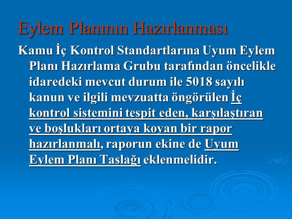 Kamu İç Kontrol Standartlarına Uyum Eylem Planı Hazırlama Grubu tarafından öncelikle idaredeki mevcut durum ile 5018 sayılı kanun ve ilgili mevzuatta
