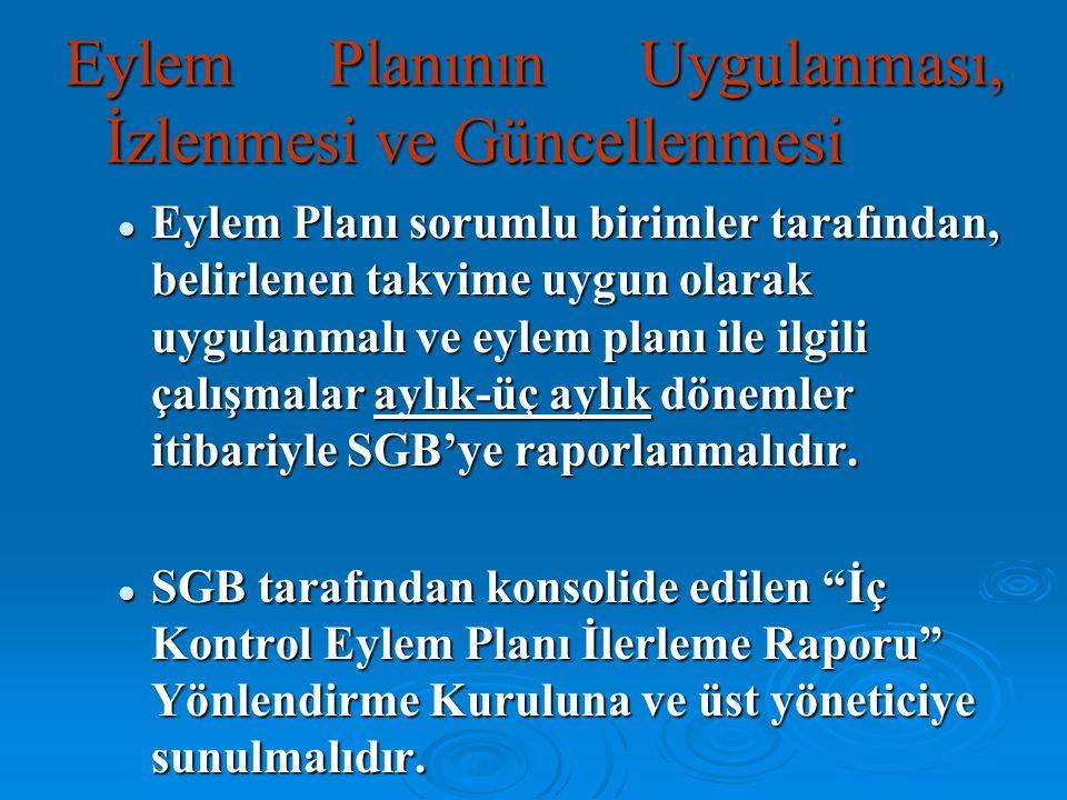 Eylem Planının Uygulanması, İzlenmesi ve Güncellenmesi Eylem Planı sorumlu birimler tarafından, belirlenen takvime uygun olarak uygulanmalı ve eylem p