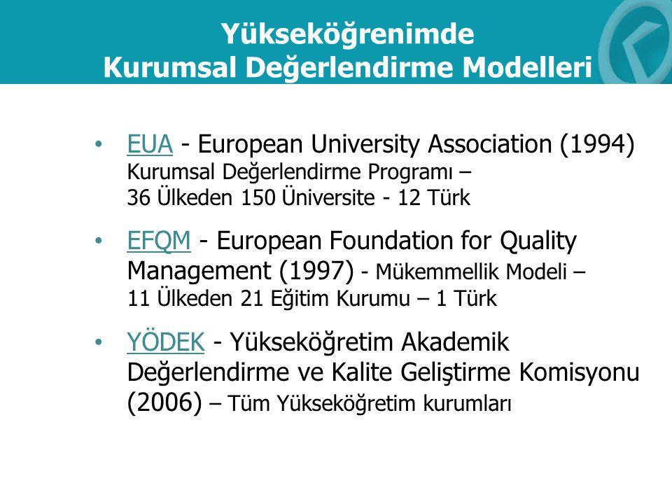 Yükseköğrenimde Kurumsal Değerlendirme Modelleri EUA - European University Association (1994) Kurumsal Değerlendirme Programı – 36 Ülkeden 150 Ünivers