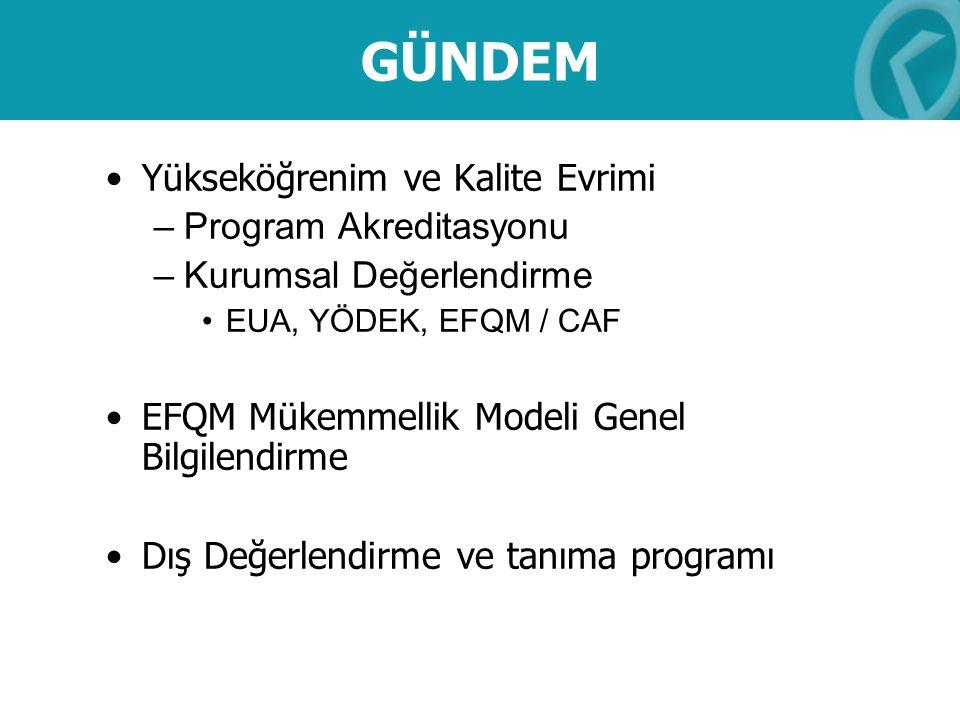 GÜNDEM Yükseköğrenim ve Kalite Evrimi –Program Akreditasyonu –Kurumsal Değerlendirme EUA, YÖDEK, EFQM / CAF EFQM Mükemmellik Modeli Genel Bilgilendirm