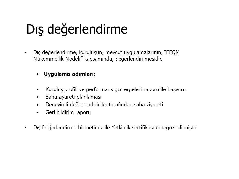 """Dış değerlendirme Dış değerlendirme, kuruluşun, mevcut uygulamalarının, """"EFQM Mükemmellik Modeli"""" kapsamında, değerlendirilmesidir. Uygulama adımları;"""