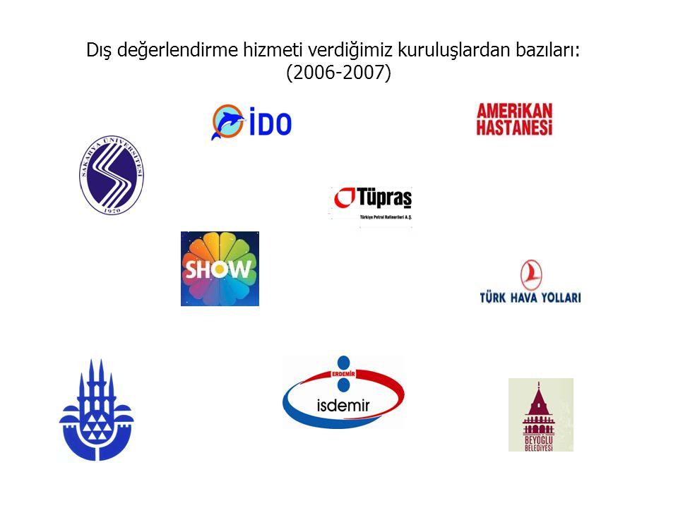 Dış değerlendirme hizmeti verdiğimiz kuruluşlardan bazıları: (2006-2007)