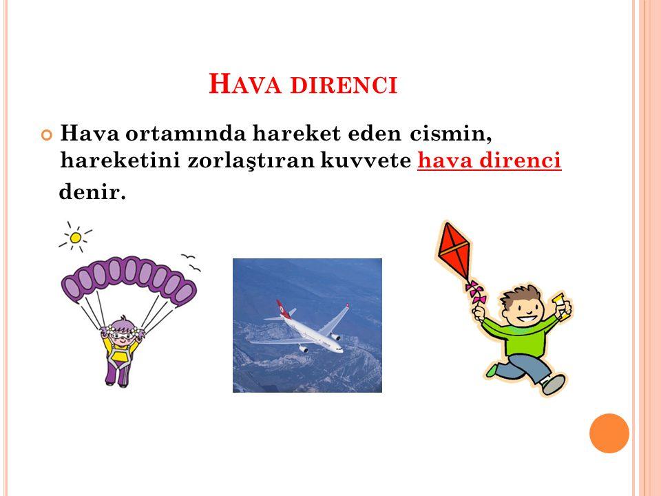 H AVA DIRENCI Hava ortamında hareket eden cismin, hareketini zorlaştıran kuvvete hava direnci denir.
