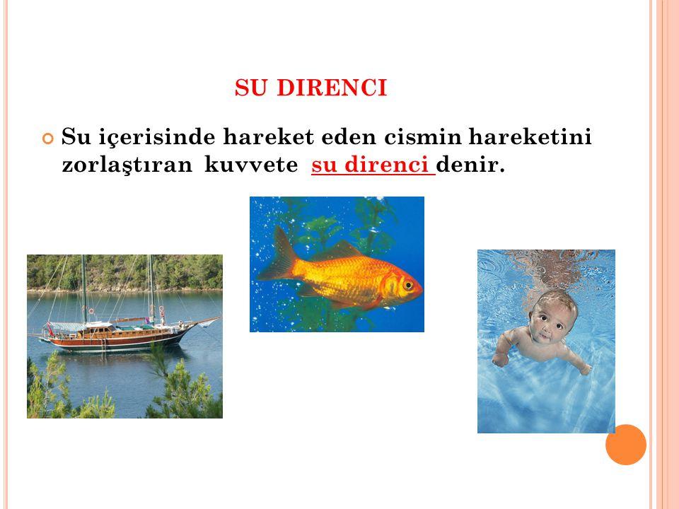 SU DIRENCI Su içerisinde hareket eden cismin hareketini zorlaştıran kuvvete su direnci denir.