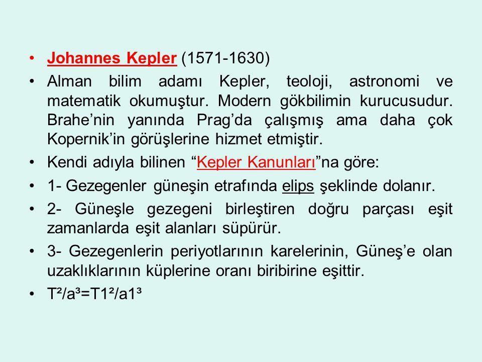 Johannes Kepler (1571-1630) Alman bilim adamı Kepler, teoloji, astronomi ve matematik okumuştur.