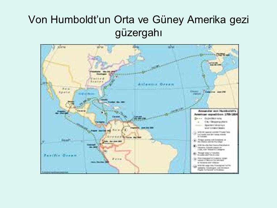 Von Humboldt'un Orta ve Güney Amerika gezi güzergahı