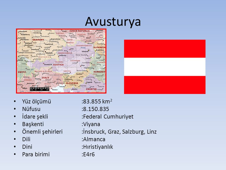 Avusturya Yüz ölçümü:83.855 km 2 Nüfusu:8.150.835 İdare şekli:Federal Cumhuriyet Başkenti:Viyana Önemli şehirleri :İnsbruck, Graz, Salzburg, Linz Dili