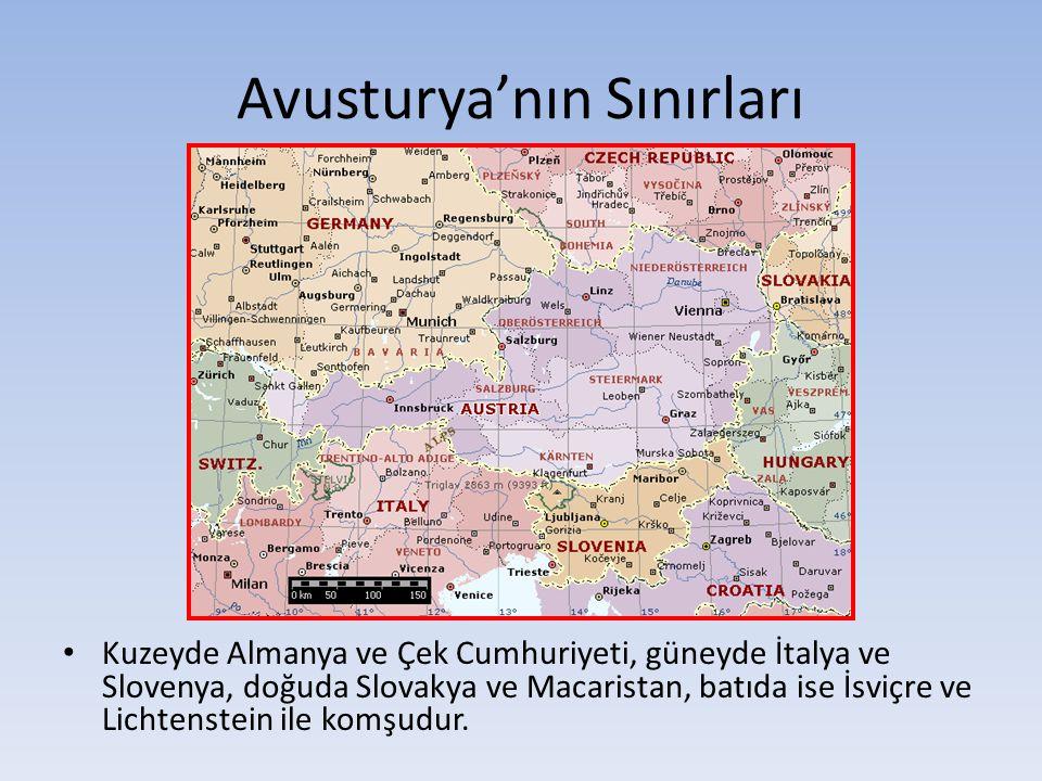 Avusturya'nın Sınırları Kuzeyde Almanya ve Çek Cumhuriyeti, güneyde İtalya ve Slovenya, doğuda Slovakya ve Macaristan, batıda ise İsviçre ve Lichtenst