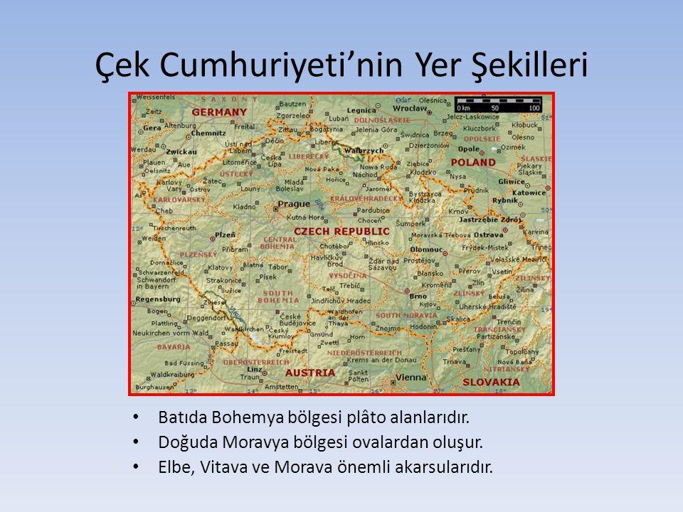 Çek Cumhuriyeti'nin Yer Şekilleri Batıda Bohemya bölgesi plâto alanlarıdır. Doğuda Moravya bölgesi ovalardan oluşur. Elbe, Vitava ve Morava önemli aka