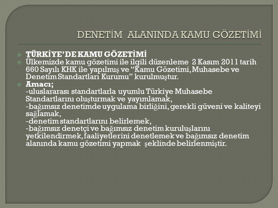 """ TÜRK İ YE'DE KAMU GÖZET İ M İ  Ülkemizde kamu gözetimi ile ilgili düzenleme 2 Kasım 2011 tarih 660 Sayılı KHK ile yapılmı ş ve """"Kamu Gözetimi, Muha"""