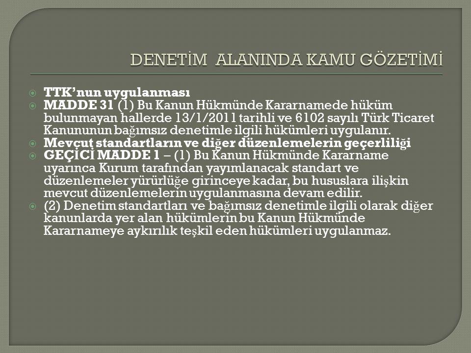  TTK'nun uygulanması  MADDE 31 (1) Bu Kanun Hükmünde Kararnamede hüküm bulunmayan hallerde 13/1/2011 tarihli ve 6102 sayılı Türk Ticaret Kanununun b