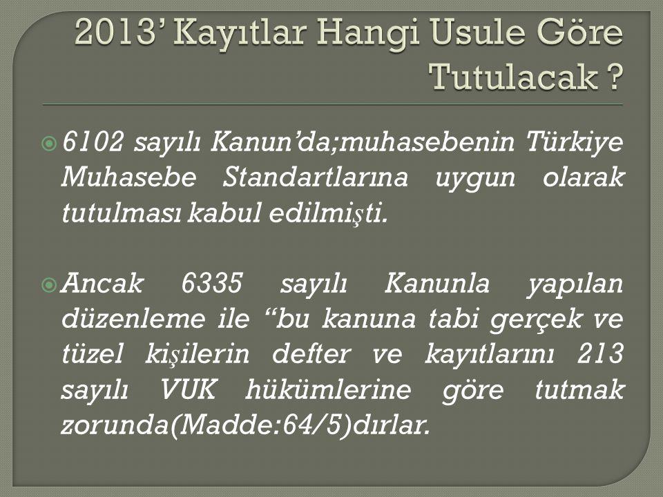  6102 sayılı Kanun'da;muhasebenin Türkiye Muhasebe Standartlarına uygun olarak tutulması kabul edilmi ş ti.  Ancak 6335 sayılı Kanunla yapılan düzen