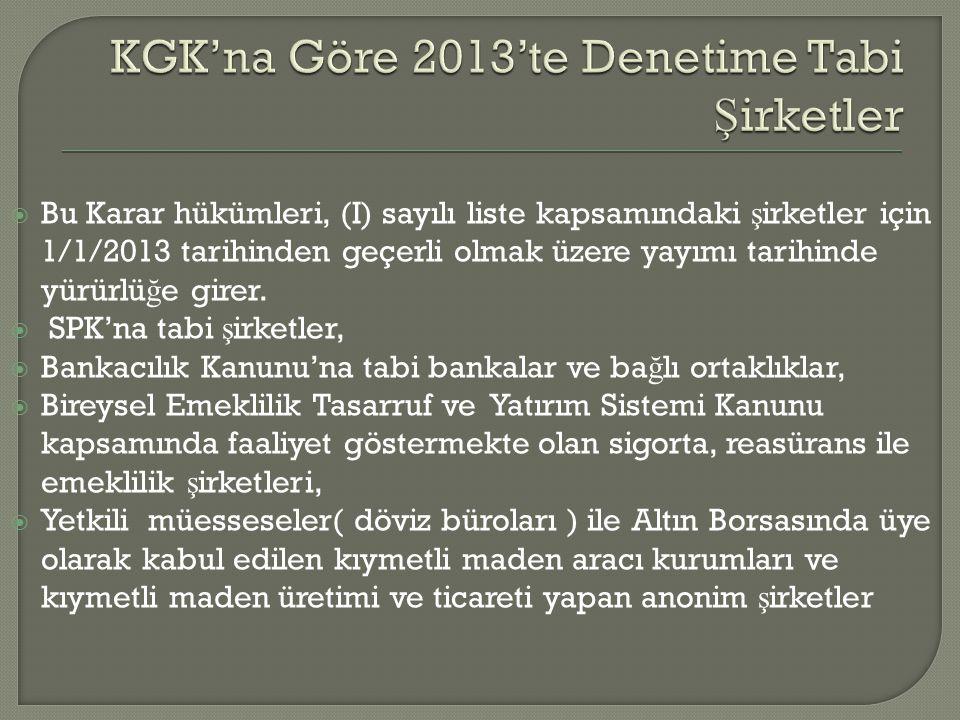  Bu Karar hükümleri, (I) sayılı liste kapsamındaki ş irketler için 1/1/2013 tarihinden geçerli olmak üzere yayımı tarihinde yürürlü ğ e girer.  SPK'