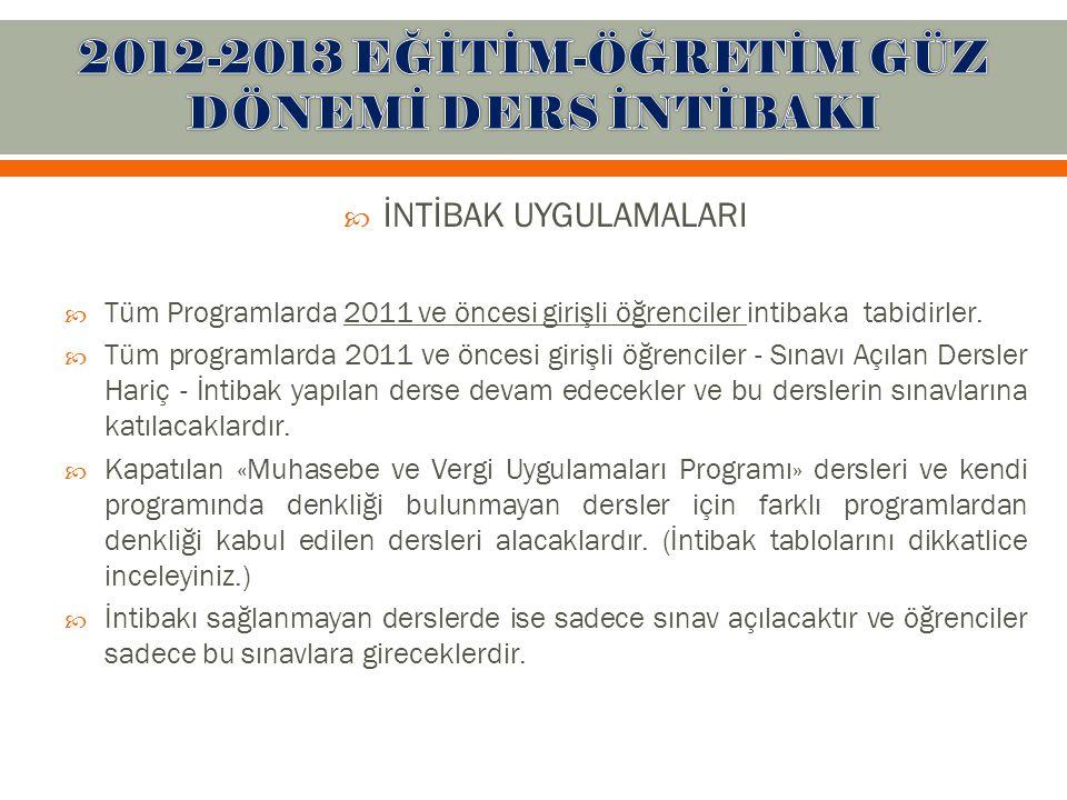  İNTİBAK UYGULAMALARI  Tüm Programlarda 2011 ve öncesi girişli öğrenciler intibaka tabidirler.