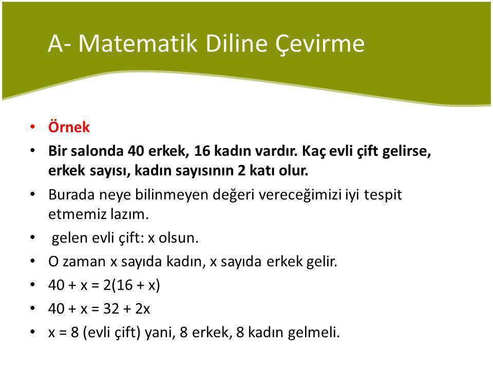 A- Matematik Diline Çevirme Örnek Bir salonda 40 erkek, 16 kadın vardır.