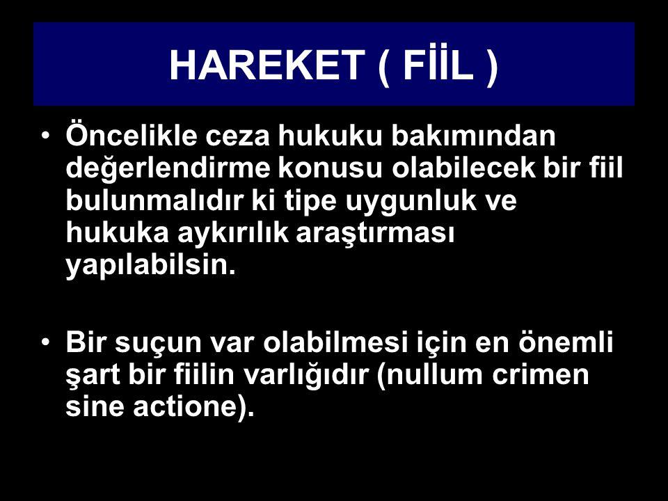 HAREKET ( FİİL ) Öncelikle ceza hukuku bakımından değerlendirme konusu olabilecek bir fiil bulunmalıdır ki tipe uygunluk ve hukuka aykırılık araştırma
