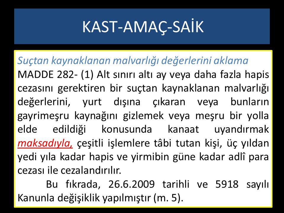 Suçtan kaynaklanan malvarlığı değerlerini aklama MADDE 282- (1) Alt sınırı altı ay veya daha fazla hapis cezasını gerektiren bir suçtan kaynaklanan ma