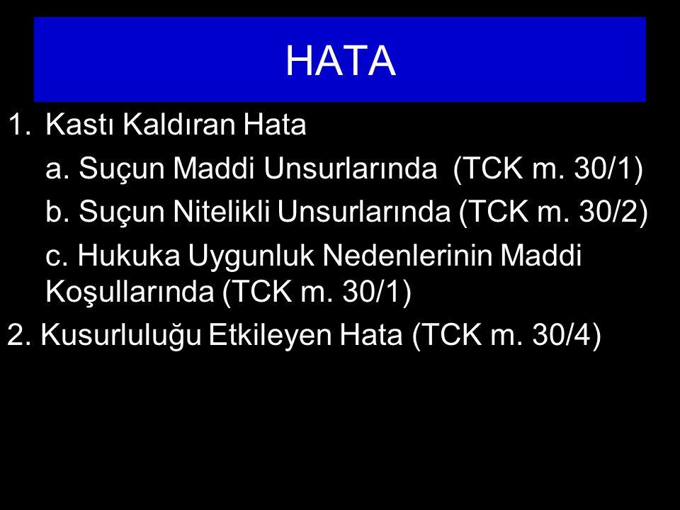 HATA 1.Kastı Kaldıran Hata a.Suçun Maddi Unsurlarında (TCK m.