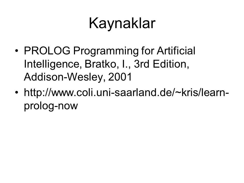 Kaynaklar PROLOG Programming for Artificial Intelligence, Bratko, I., 3rd Edition, Addison-Wesley, 2001 http://www.coli.uni-saarland.de/~kris/learn- prolog-now