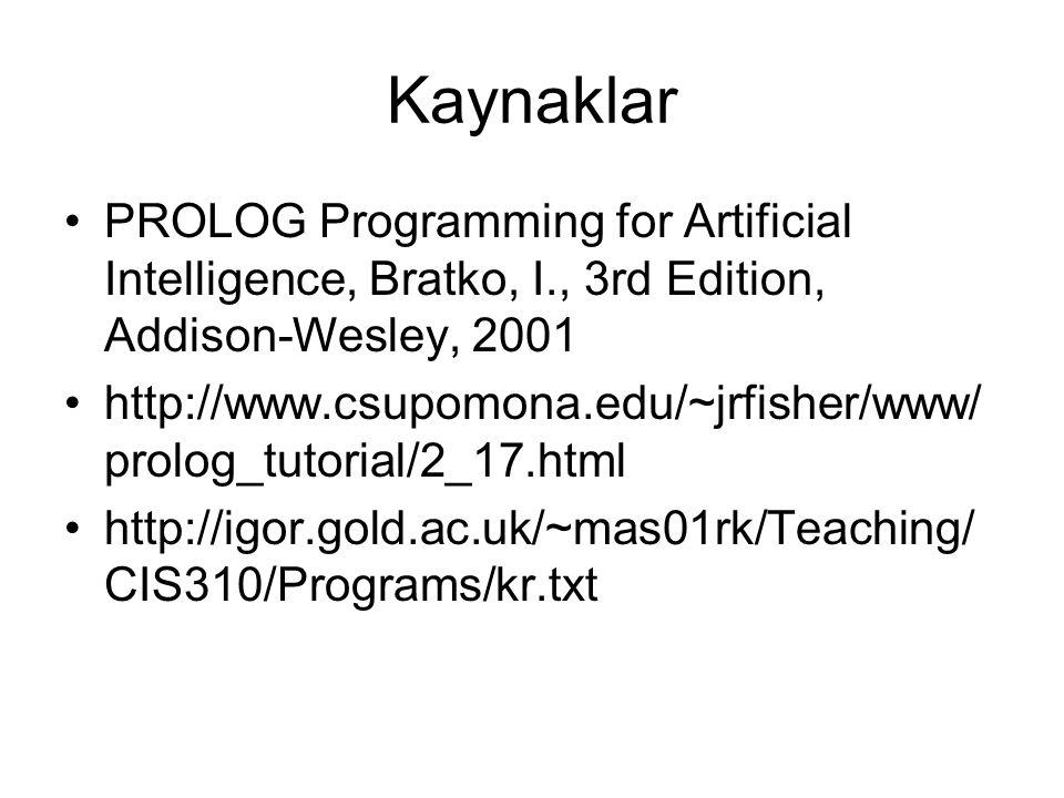 Kaynaklar PROLOG Programming for Artificial Intelligence, Bratko, I., 3rd Edition, Addison-Wesley, 2001 http://www.csupomona.edu/~jrfisher/www/ prolog