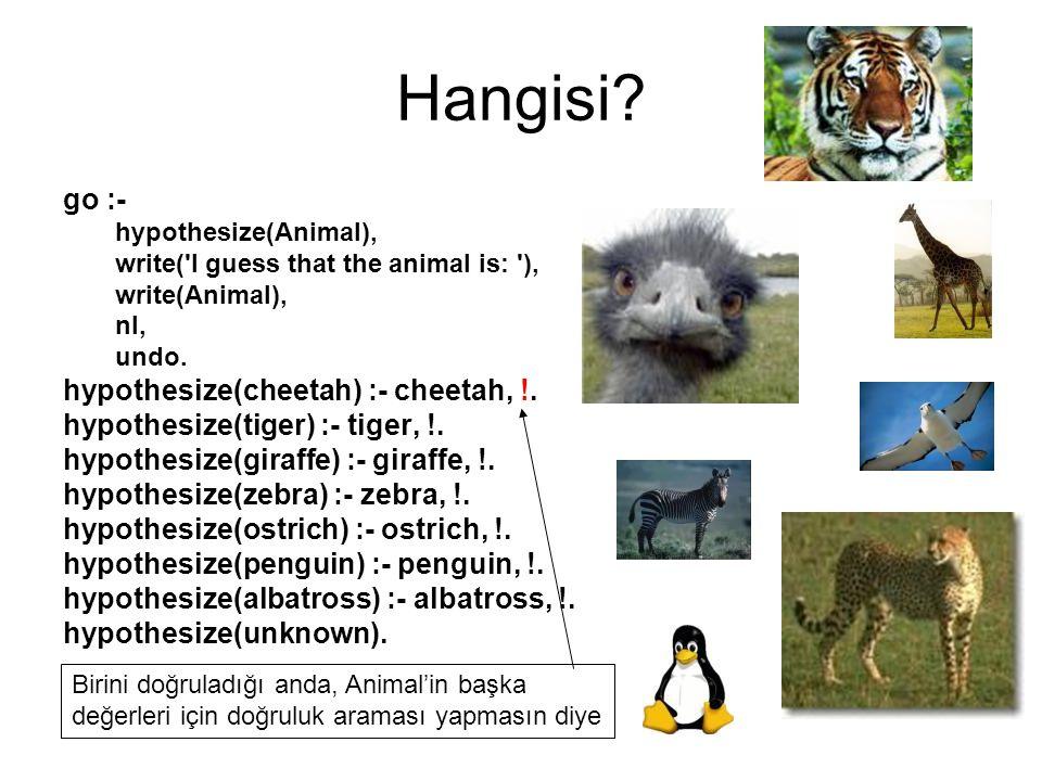Hangisi? go :- hypothesize(Animal), write('I guess that the animal is: '), write(Animal), nl, undo. hypothesize(cheetah) :- cheetah, !. hypothesize(ti