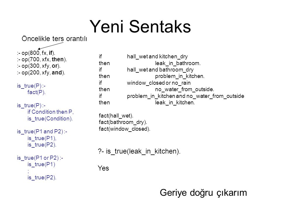 Yeni Sentaks :- op(800, fx, if). :- op(700, xfx, then). :- op(300, xfy, or). :- op(200, xfy, and). is_true(P) :- fact(P). is_true(P) :- if Condition t