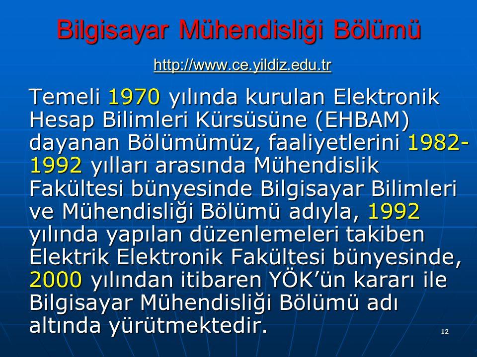 12 Bilgisayar Mühendisliği Bölümü http://www.ce.yildiz.edu.tr http://www.ce.yildiz.edu.tr Temeli 1970 yılında kurulan Elektronik Hesap Bilimleri Kürsüsüne (EHBAM) dayanan Bölümümüz, faaliyetlerini 1982- 1992 yılları arasında Mühendislik Fakültesi bünyesinde Bilgisayar Bilimleri ve Mühendisliği Bölümü adıyla, 1992 yılında yapılan düzenlemeleri takiben Elektrik Elektronik Fakültesi bünyesinde, 2000 yılından itibaren YÖK'ün kararı ile Bilgisayar Mühendisliği Bölümü adı altında yürütmektedir.