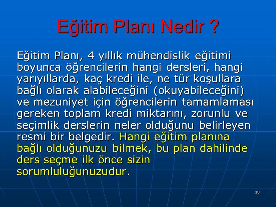 18 Eğitim Planı Nedir ? Eğitim Planı, 4 yıllık mühendislik eğitimi boyunca öğrencilerin hangi dersleri, hangi yarıyıllarda, kaç kredi ile, ne tür koşu