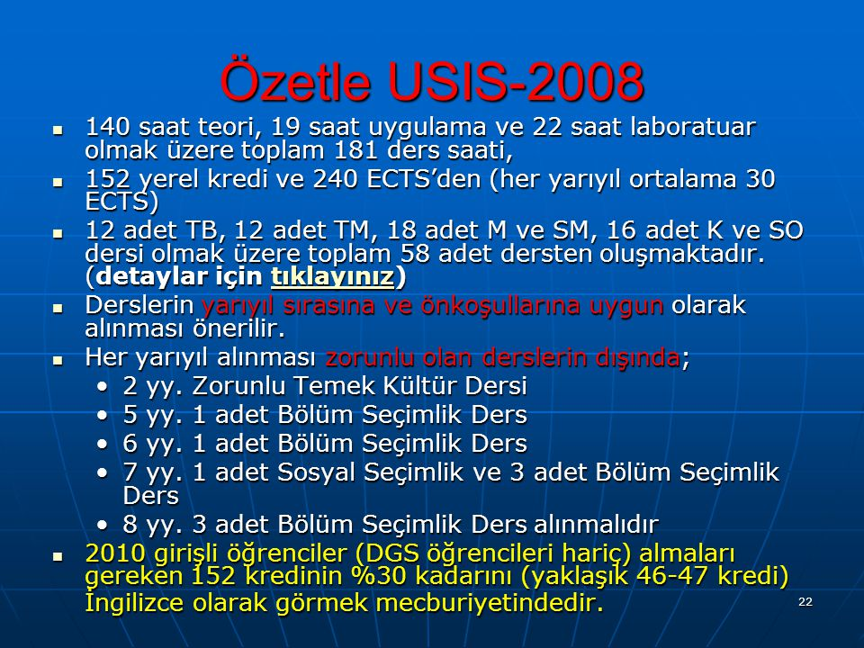 22 Özetle USIS-2008 140 saat teori, 19 saat uygulama ve 22 saat laboratuar olmak üzere toplam 181 ders saati, 140 saat teori, 19 saat uygulama ve 22 s