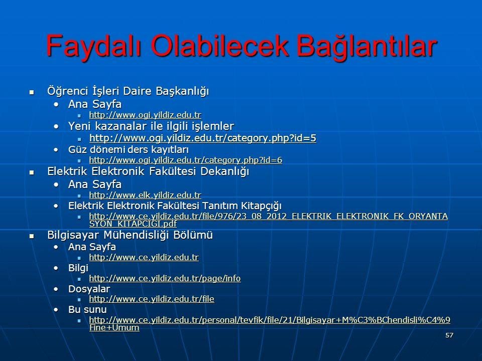 57 Faydalı Olabilecek Bağlantılar Öğrenci İşleri Daire Başkanlığı Öğrenci İşleri Daire Başkanlığı Ana SayfaAna Sayfa http://www.ogi.yildiz.edu.tr http://www.ogi.yildiz.edu.tr http://www.ogi.yildiz.edu.tr Yeni kazanalar ile ilgili işlemlerYeni kazanalar ile ilgili işlemler http://www.ogi.yildiz.edu.tr/category.php?id=5 http://www.ogi.yildiz.edu.tr/category.php?id=5 http://www.ogi.yildiz.edu.tr/category.php?id=5 Güz dönemi ders kayıtlarıGüz dönemi ders kayıtları http://www.ogi.yildiz.edu.tr/category.php?id=6 http://www.ogi.yildiz.edu.tr/category.php?id=6 http://www.ogi.yildiz.edu.tr/category.php?id=6 Elektrik Elektronik Fakültesi Dekanlığı Elektrik Elektronik Fakültesi Dekanlığı Ana SayfaAna Sayfa http://www.elk.yildiz.edu.tr http://www.elk.yildiz.edu.tr http://www.elk.yildiz.edu.tr Elektrik Elektronik Fakültesi Tanıtım KitapçığıElektrik Elektronik Fakültesi Tanıtım Kitapçığı http://www.ce.yildiz.edu.tr/file/976/23_08_2012_ELEKTRIK_ELEKTRONIK_FK_ORYANTA SYON_KITAPCIGI.pdf http://www.ce.yildiz.edu.tr/file/976/23_08_2012_ELEKTRIK_ELEKTRONIK_FK_ORYANTA SYON_KITAPCIGI.pdf http://www.ce.yildiz.edu.tr/file/976/23_08_2012_ELEKTRIK_ELEKTRONIK_FK_ORYANTA SYON_KITAPCIGI.pdf http://www.ce.yildiz.edu.tr/file/976/23_08_2012_ELEKTRIK_ELEKTRONIK_FK_ORYANTA SYON_KITAPCIGI.pdf Bilgisayar Mühendisliği Bölümü Bilgisayar Mühendisliği Bölümü Ana SayfaAna Sayfa http://www.ce.yildiz.edu.tr http://www.ce.yildiz.edu.tr http://www.ce.yildiz.edu.tr BilgiBilgi http://www.ce.yildiz.edu.tr/page/info http://www.ce.yildiz.edu.tr/page/info http://www.ce.yildiz.edu.tr/page/info DosyalarDosyalar http://www.ce.yildiz.edu.tr/file http://www.ce.yildiz.edu.tr/file http://www.ce.yildiz.edu.tr/file Bu sunuBu sunu http://www.ce.yildiz.edu.tr/personal/tevfik/file/21/Bilgisayar+M%C3%BChendisli%C4%9 Fine+Umum http://www.ce.yildiz.edu.tr/personal/tevfik/file/21/Bilgisayar+M%C3%BChendisli%C4%9 Fine+Umum http://www.ce.yildiz.edu.tr/personal/tevfik/file/21/Bilgisayar+M%C3%BChendisli%C4%9 Fine+Umum http://www.ce.yild