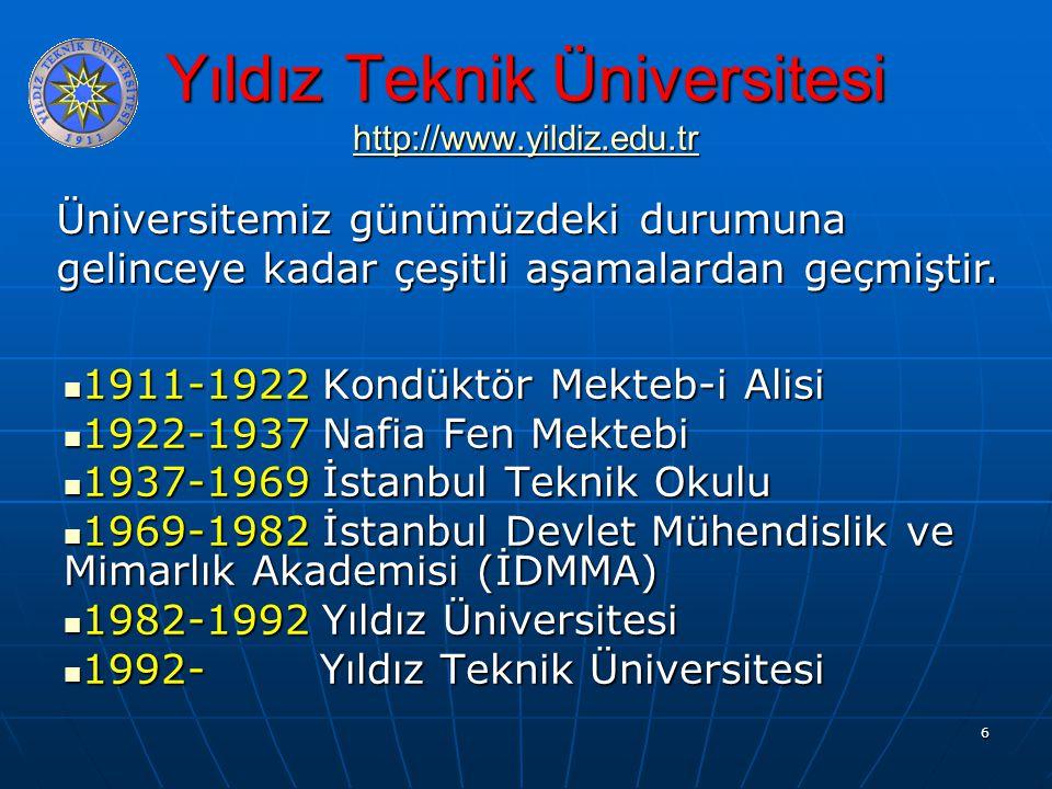 6 Yıldız Teknik Üniversitesi http://www.yildiz.edu.tr http://www.yildiz.edu.tr 1911-1922 Kondüktör Mekteb-i Alisi 1911-1922 Kondüktör Mekteb-i Alisi 1922-1937 Nafia Fen Mektebi 1922-1937 Nafia Fen Mektebi 1937-1969 İstanbul Teknik Okulu 1937-1969 İstanbul Teknik Okulu 1969-1982 İstanbul Devlet Mühendislik ve Mimarlık Akademisi (İDMMA) 1969-1982 İstanbul Devlet Mühendislik ve Mimarlık Akademisi (İDMMA) 1982-1992 Yıldız Üniversitesi 1982-1992 Yıldız Üniversitesi 1992- Yıldız Teknik Üniversitesi 1992- Yıldız Teknik Üniversitesi Üniversitemiz günümüzdeki durumuna gelinceye kadar çeşitli aşamalardan geçmiştir.