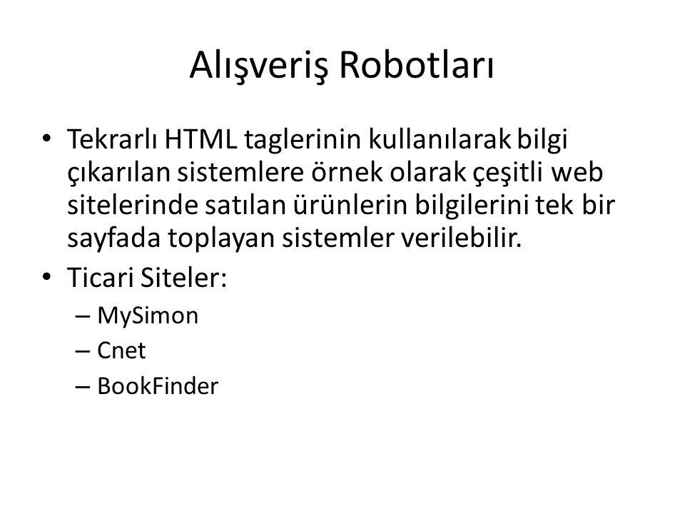 Alışveriş Robotları Tekrarlı HTML taglerinin kullanılarak bilgi çıkarılan sistemlere örnek olarak çeşitli web sitelerinde satılan ürünlerin bilgilerini tek bir sayfada toplayan sistemler verilebilir.