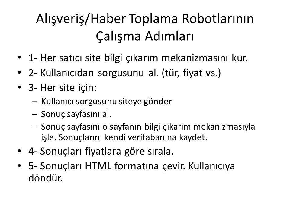 Alışveriş/Haber Toplama Robotlarının Çalışma Adımları 1- Her satıcı site bilgi çıkarım mekanizmasını kur.