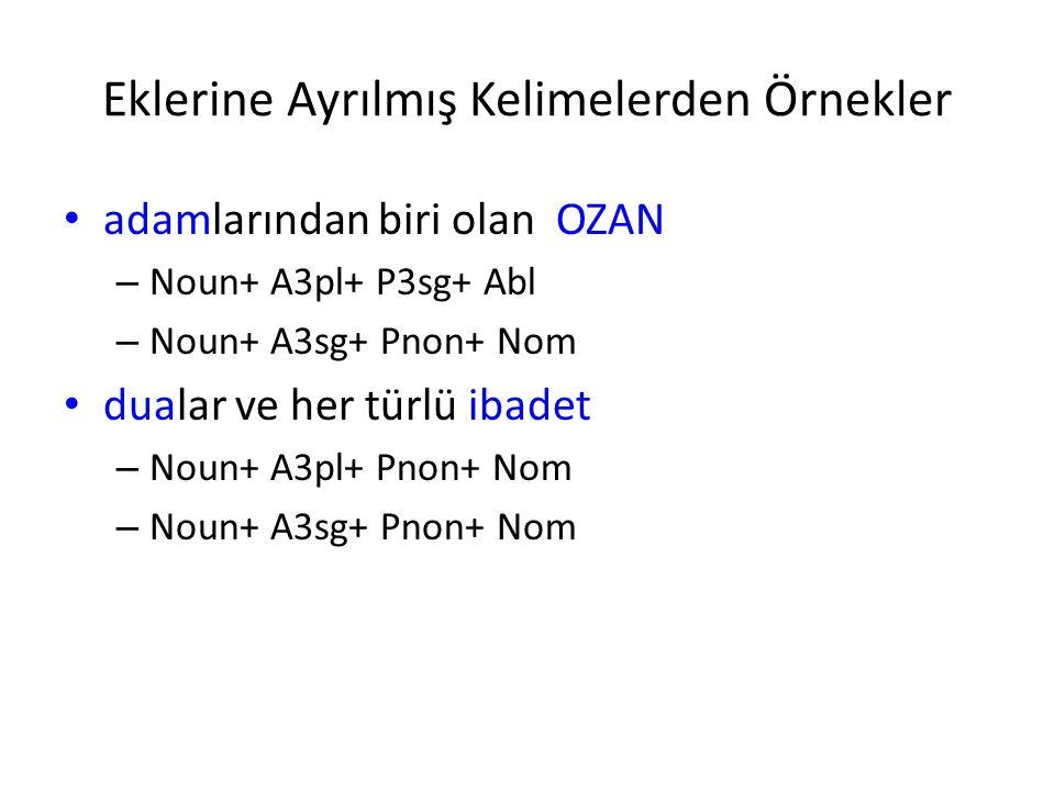 Eklerine Ayrılmış Kelimelerden Örnekler adamlarından biri olan OZAN – Noun+ A3pl+ P3sg+ Abl – Noun+ A3sg+ Pnon+ Nom dualar ve her türlü ibadet – Noun+ A3pl+ Pnon+ Nom – Noun+ A3sg+ Pnon+ Nom