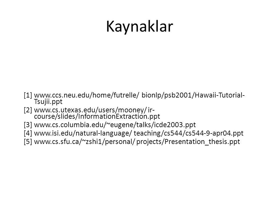 Kaynaklar [1] www.ccs.neu.edu/home/futrelle/ bionlp/psb2001/Hawaii-Tutorial- Tsujii.ppt [2] www.cs.utexas.edu/users/mooney/ ir- course/slides/InformationExtraction.ppt [3] www.cs.columbia.edu/~eugene/talks/icde2003.ppt [4] www.isi.edu/natural-language/ teaching/cs544/cs544-9-apr04.ppt [5] www.cs.sfu.ca/~zshi1/personal/ projects/Presentation_thesis.ppt