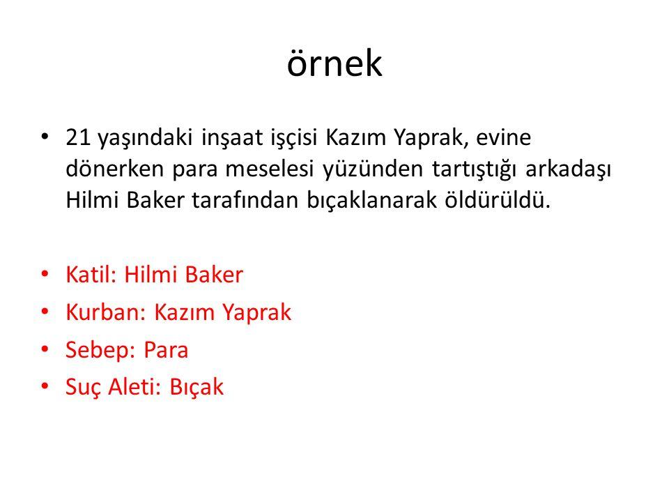 örnek 21 yaşındaki inşaat işçisi Kazım Yaprak, evine dönerken para meselesi yüzünden tartıştığı arkadaşı Hilmi Baker tarafından bıçaklanarak öldürüldü.