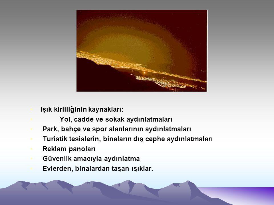Işık kirliliğinin kaynakları: Yol, cadde ve sokak aydınlatmaları Park, bahçe ve spor alanlarının aydınlatmaları Turistik tesislerin, binaların dış cep
