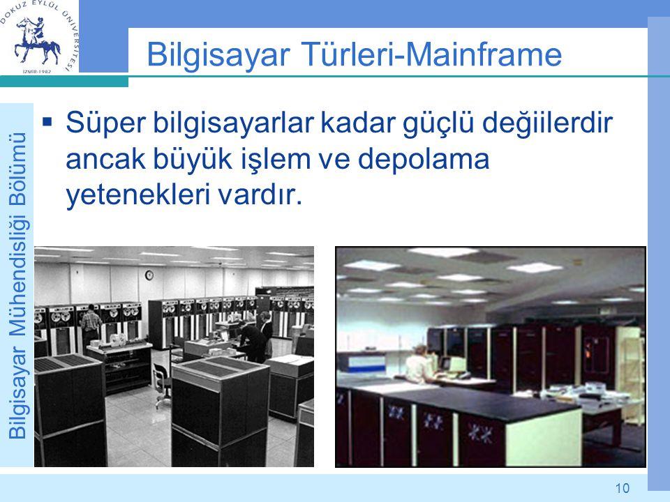 Bilgisayar Mühendisliği Bölümü 10 Bilgisayar Türleri-Mainframe  Süper bilgisayarlar kadar güçlü değiilerdir ancak büyük işlem ve depolama yetenekleri
