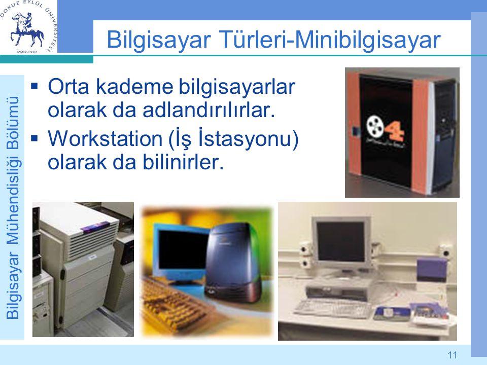 Bilgisayar Mühendisliği Bölümü 11 Bilgisayar Türleri-Minibilgisayar  Orta kademe bilgisayarlar olarak da adlandırılırlar.  Workstation (İş İstasyonu